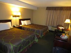 reasonably spacious room with 2 double beds