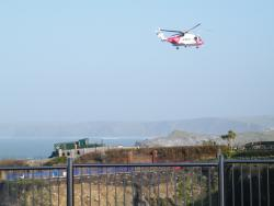 Air Sea rescue helicopter over Newquay near Barrowfield hotel Jan 2016