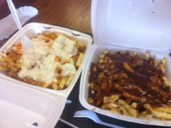 "volcano fries on left, Disco fries on right. ""medium"" size (HUGE!)"