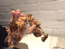 this is 1/2 of the chicken that was served to us. purple and barely edible.