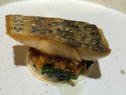 seabass w/ saute spinach rattatouille & prawn bisque