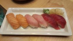 Salmon, yellowtail and tuna sushi