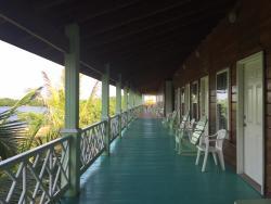 Breezy lagoon view apartment deck