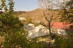 The tents nestled in the valley