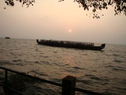 sun set over vembanad kayal or lake