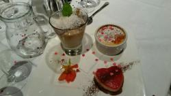 Trio of puddings (note heart shaped mouse), to be shared between 2.