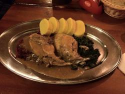 Rabbit with spinach and potato damplings