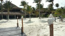 The hotel is right on the beach.