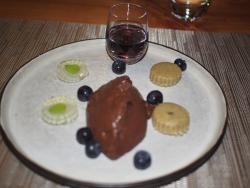 Dark Chocolate Mouse with lavender liqueur.