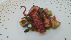 Rots octopus/ bonen / artisjok / tomaat