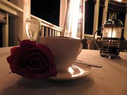 They bring you a rose at the end of the meal