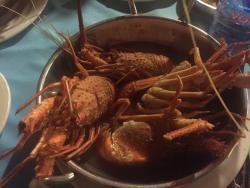 Lobsters boiled in sea water