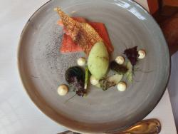 Smoked Salmon with green apple sorbet