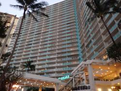 A nice hotel condo just on the edge of Waikiki beach