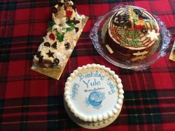 Yule Log and gluten free chocolate cakes by Oak Mill for our Yule Party!