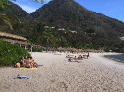 non-guests using beach area in front of resort