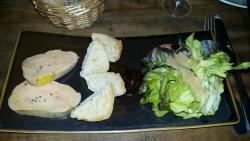 Foie gras mi-cuit puis croustillant de magret sauce au miel : un pur délice !!