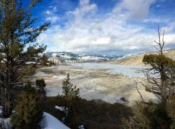 View from the boardwalk at Mammoth Hot Springs