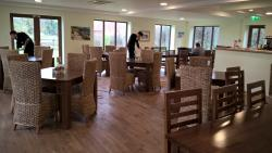 This is the inside of the restaurant.  The team preparing tables