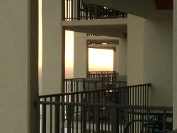 View of sunset...thru the other balconies