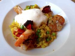 The daily menu the day that I was there: risotto with grilled gambas