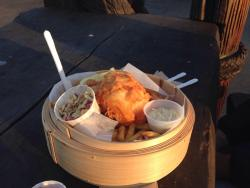 Sunset with delicious fish and chips ;)