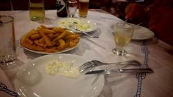 dinner at tavern (fried potatoes and tzatziki)