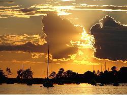Setting sun over the harbor.