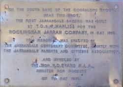 Historical plaque about the first Jarrahdale sawmill located in Gooralong