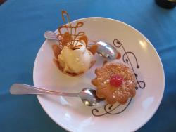 Dessert tasted great and was pretty to look at too