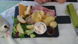 Most of the very nice ploughman's lunch. My 16 yo male guest was unable to finish it!