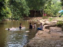 My family enjoying the stream.