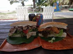 The Mokos (left) & FOB burger (right)
