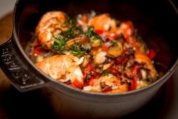 Lobster (langoustine) in a hot pot