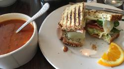 The ultimate BLT with avocado and a bowl of chili pie soup. Great lunch!