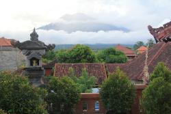 The view of Mount Agung from the balcony.