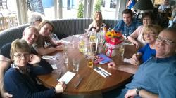 Our Birthday Party of Ten, Seated in a Sunny Round Table with a Panoramic Bay-Window