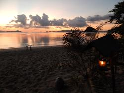 Beautiful secluded white sands and sunsets with excellent food