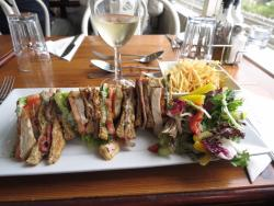 Delectable Club Sandwich and my great glass of wine!