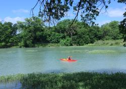 kayaking around the river near the park.