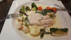 Hake with scallops