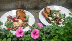 Goats Salad & Mrs B's Greek Salad with our own brown bread
