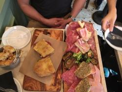 meat/cheese plate and caprese panini with salami