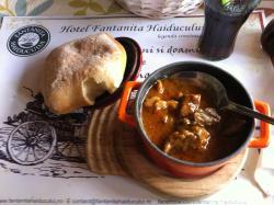 Wild boar stew with fresh soft bread