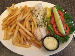 Broiled walleye fish sandwich