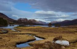This is the view of the hostel and Loch Ossian as you approach from Corrour train station.