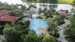 Pools, lake and Hemingway's on left