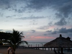 Sunset from the resorts private beach