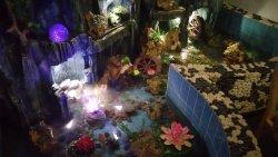 Particolare della fontana presente nel ristorante, con pesci e piccoli giochi d'acqua