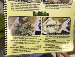 Bottom of on the Menus showing the Enchiladas Suizas (right side photo)